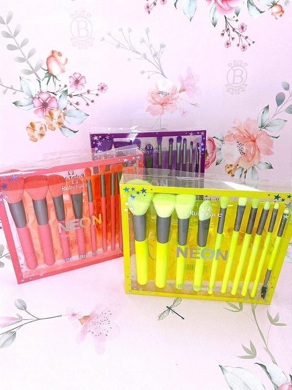 Kit de pincéis com 10 peças- verde neon, rosa ou roxo