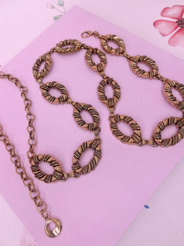 Cinto Elos ondulados e corrente-prata ou dourado