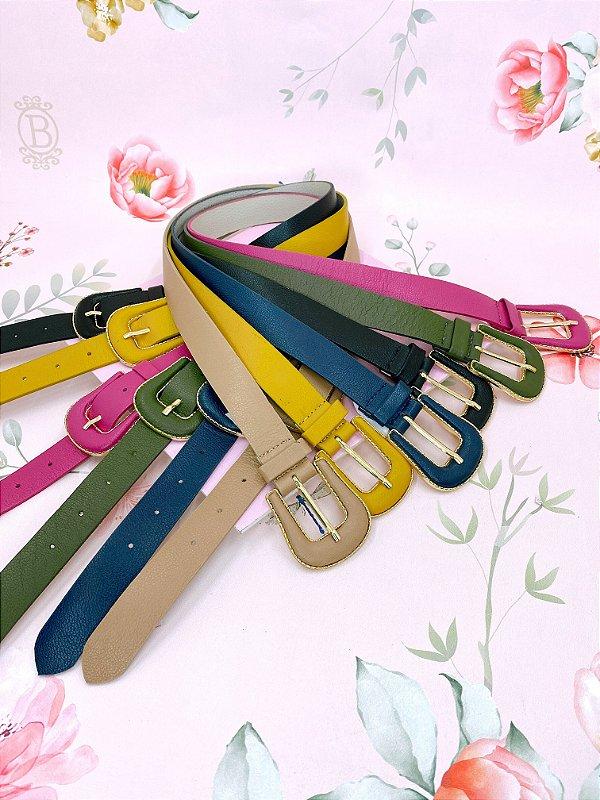 Cinto 2 fivelas e detalhe dourado - rosa, amarelo, bege, verde, preto ou azul escuro
