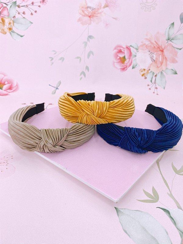 Arco tecido de nó franzido-amarelo,azul escuro ou bege