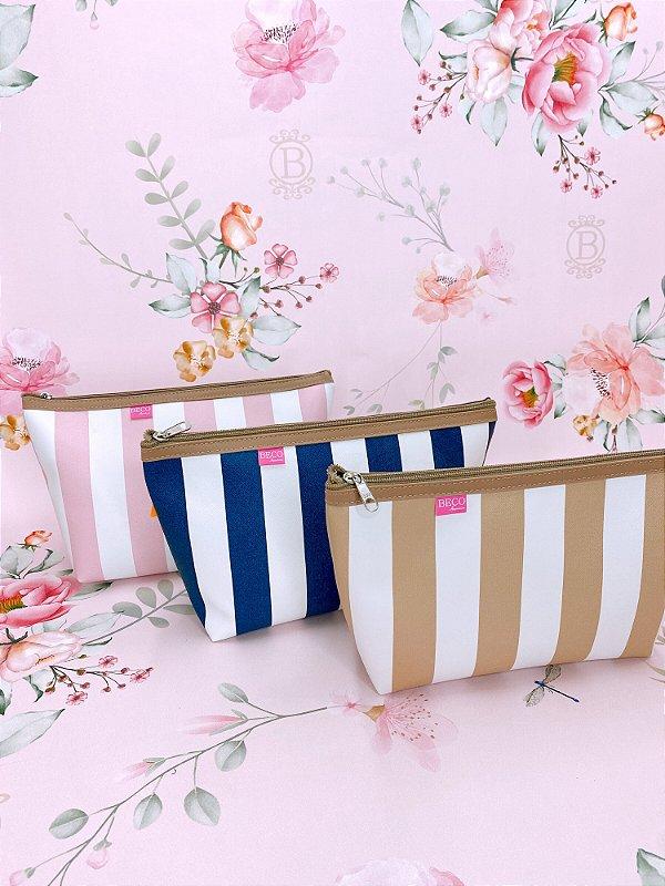 Necessaire grande listrada-branco e azul,branco e bege ou branco e rosa