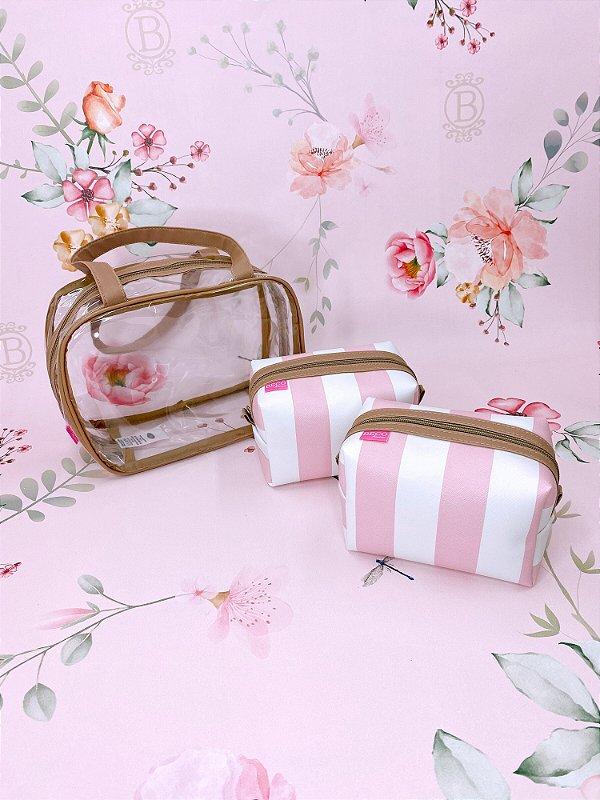 Kit Necessaire maleta média listrada - bege, rosa ou azul
