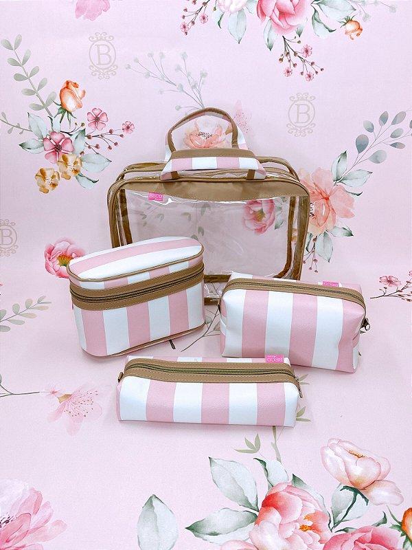 Kit Necessaire maleta trio listrado - rosa, bege ou azul