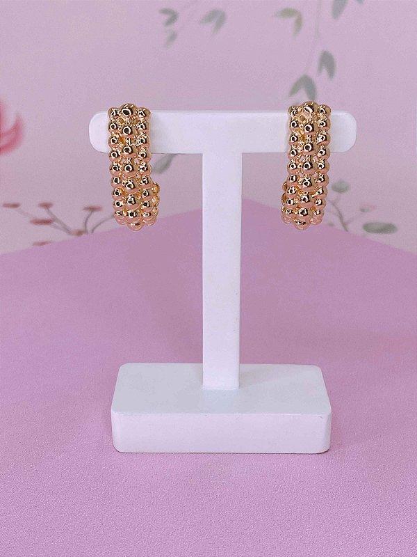 Brinco Ear Hook com esferas-prata ou dourado