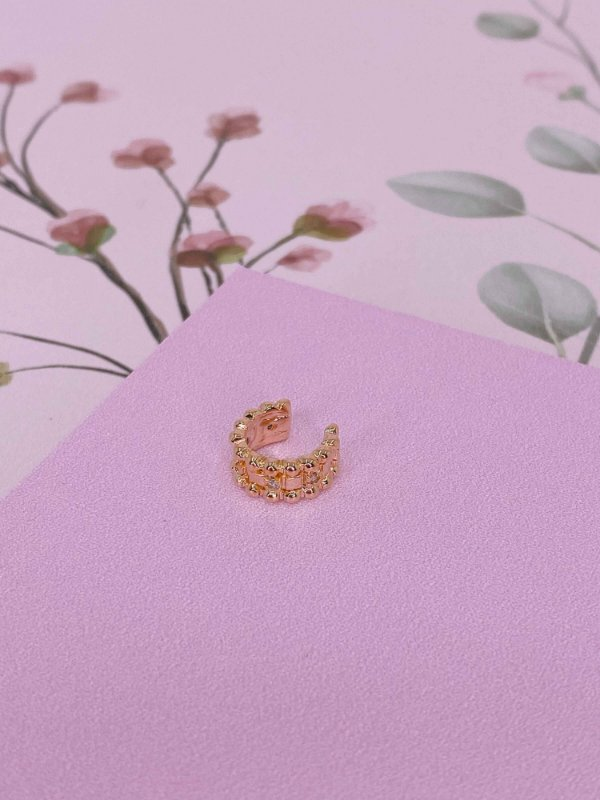 Piercing fake com mini esferas e pedrinhas-prata ou dourado