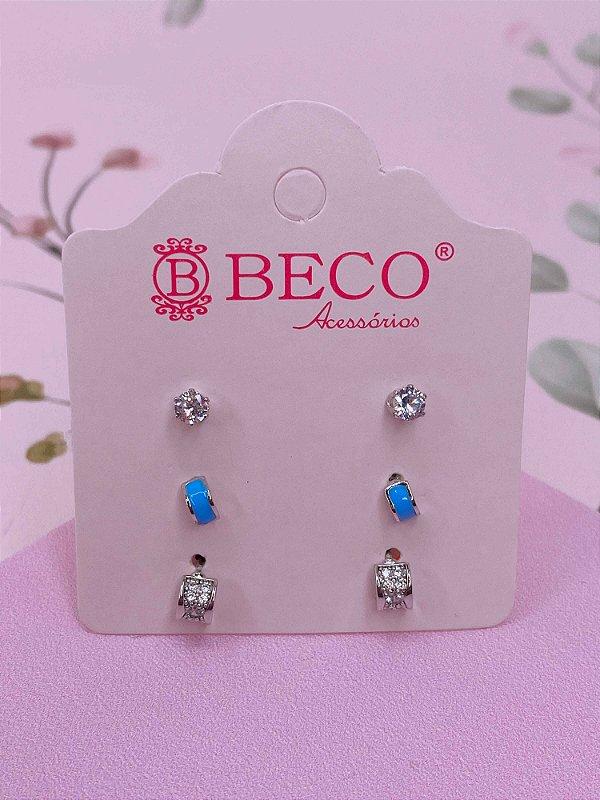 Brinco trio prata de pedrinhas - preto, branco, rosa ou azul
