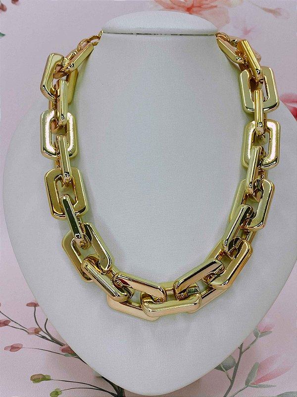 Colar de Elos Abs retangular - prata ou dourado