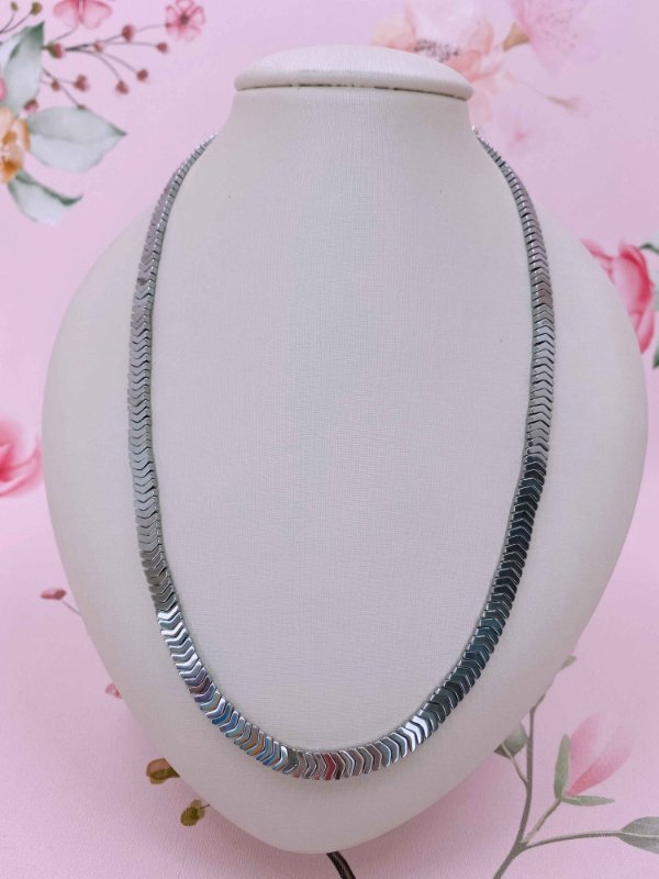 Colar seta metal prata