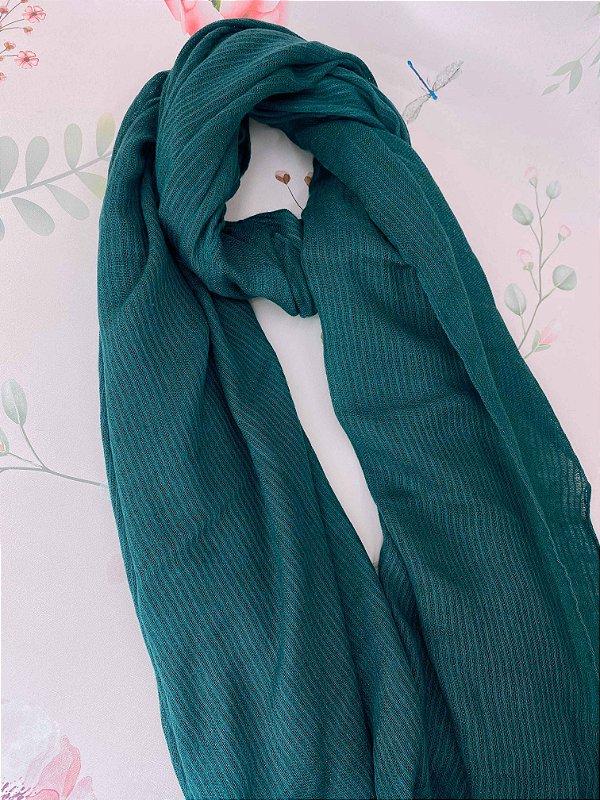 Lenço de inverno com detalhes riscados - verde, preto, laranja, mostarda ou bege.
