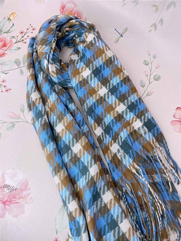 Lenço de inverno quadriculado cinza,azul,off e marrom com franjas