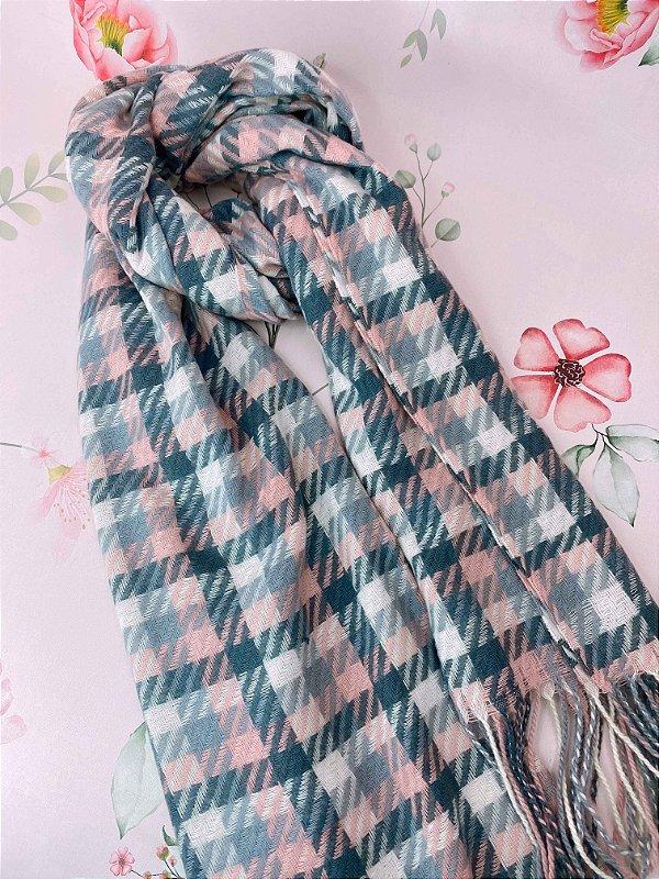 Lenço de inverno quadriculado cinza, off e rosa claro com franjas