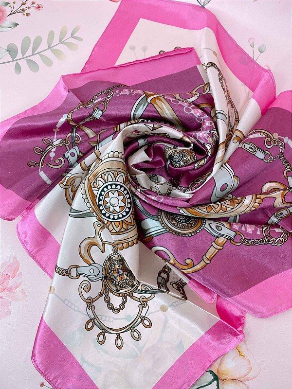 Lenço estampado de mandala, correntes e diamantes - bege, rosa ou lilás
