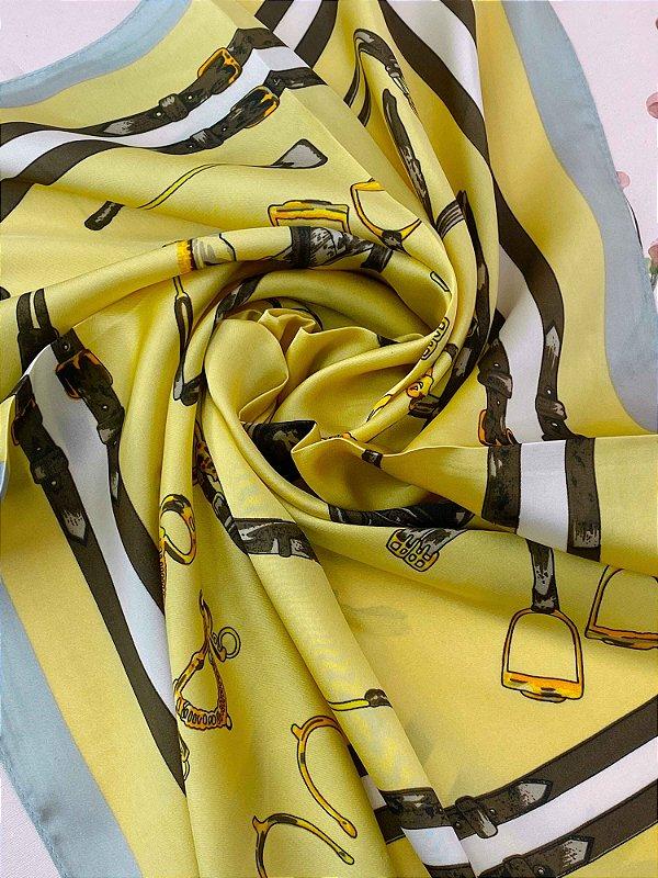 Lenço estampado de ferramentas - off white, amarelo ou rosê