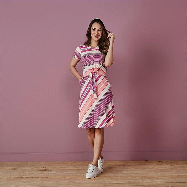 Vestido Deize malha crepe list.rosa pink amarração frontal