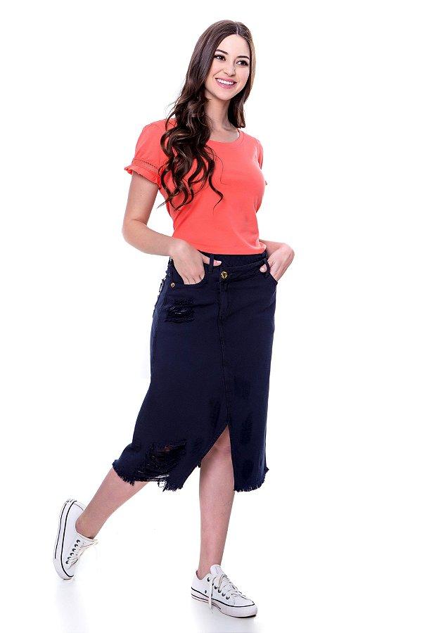 Blusa de malha de algodão cor laranja com detalhe telinha nas mangas