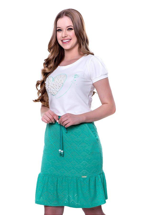 conjunto blusa de malha algodão estampa local aplicação pérola saia lasie verde