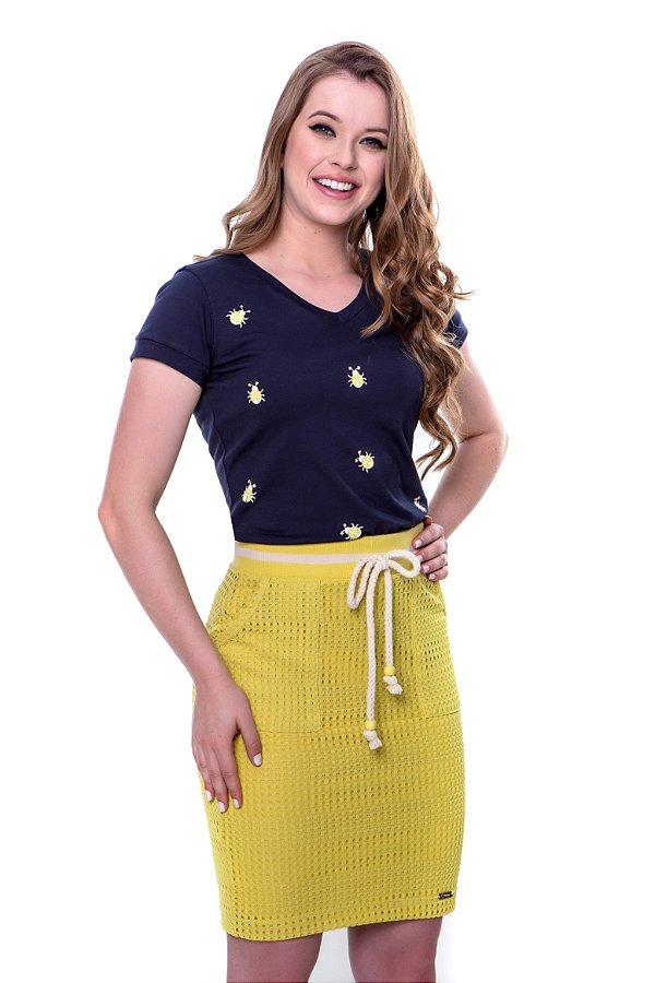 Conjunto blusa de malha de algodão estampa joaninha c/ponto luz saia tela de malha