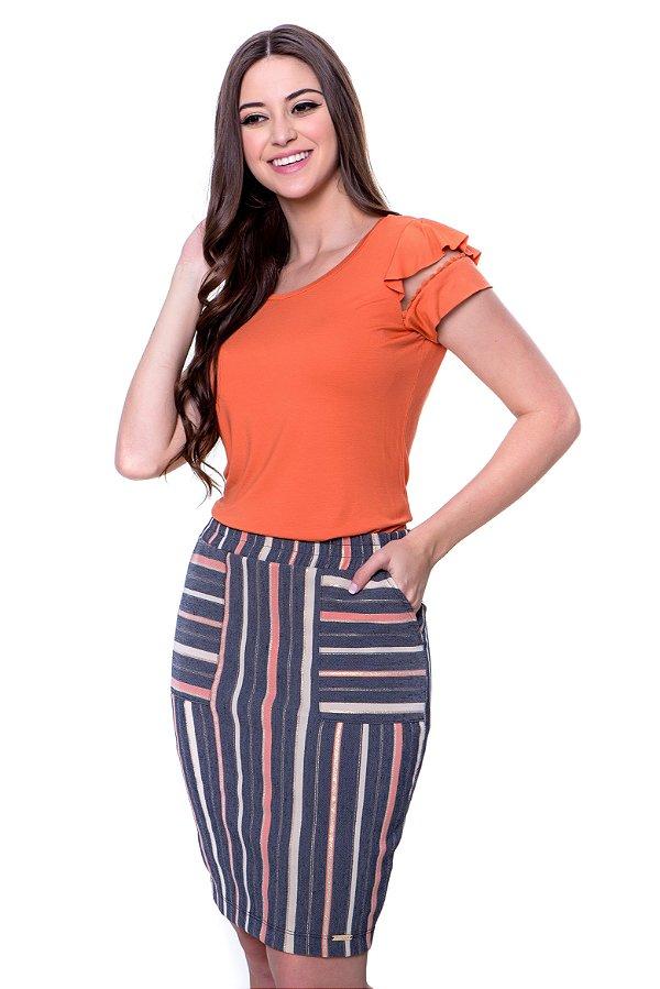 Conjunto blusa de malha com babadinho e detalhe tule nas mangas saia bengaline