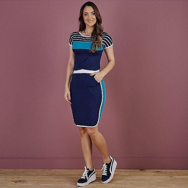 Conjunto Iara azul marinho com detalhe recortes na saia e blusa