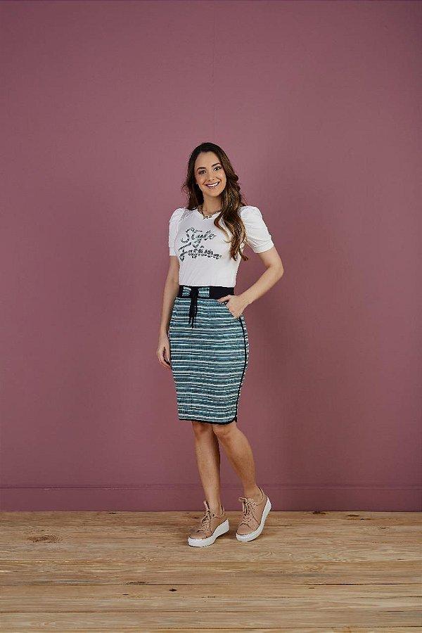 Conjunto Style Fashion saia canelada listrada
