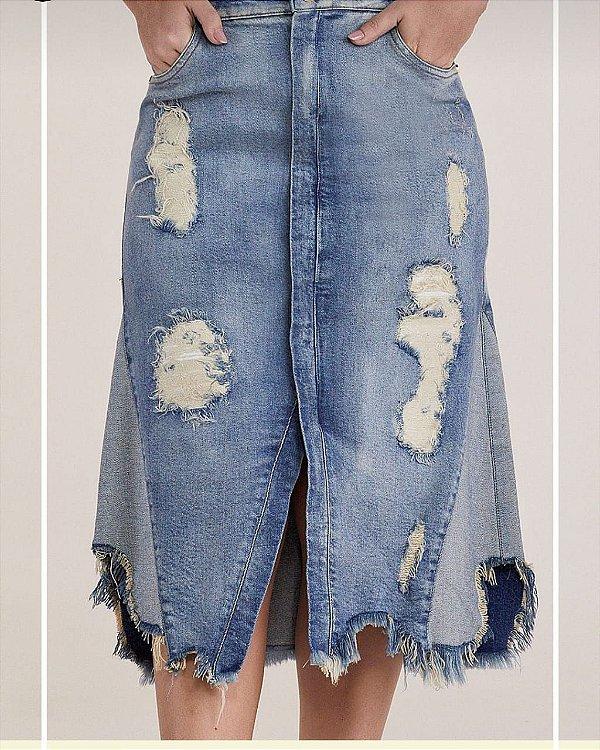 Saia jeans evasê Titanium