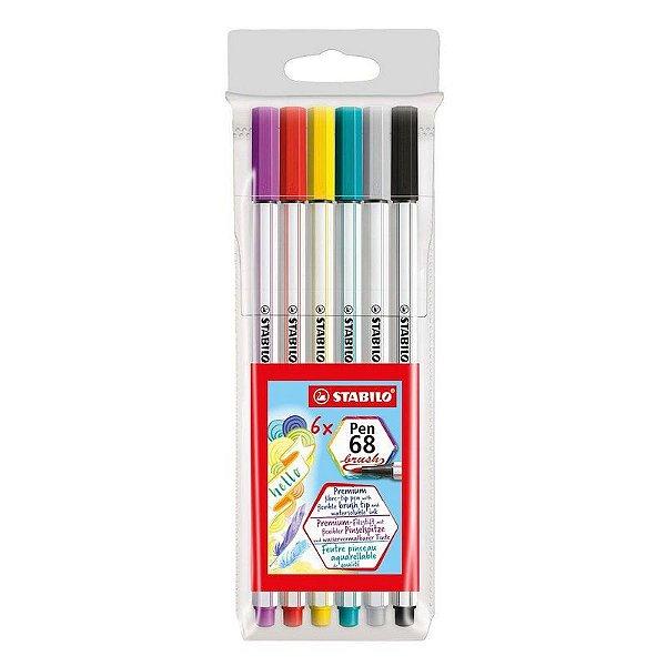 Kit Brush Pen 68 STABILO c/6