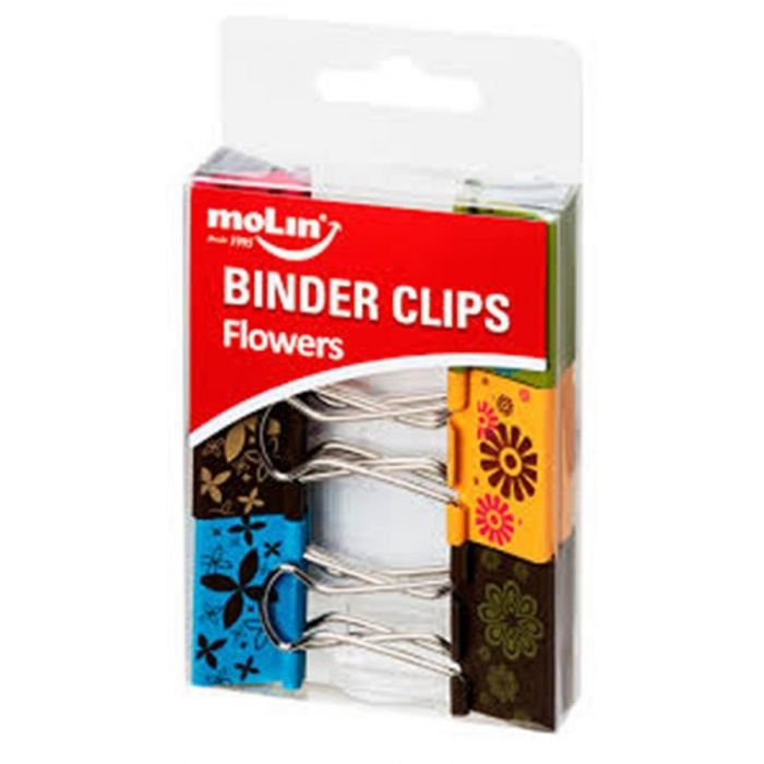 Prendedor de Papel Binder Flowers 32mm MOLIN c/6