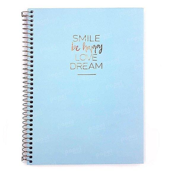 Caderno Happy Azul 80 folhas (1 matéria) TILIBRA