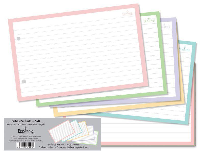 Fichas Pautadas Coloridas 5x8 180g  50fls FINA IDEIA