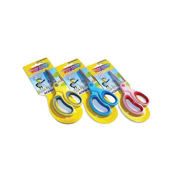 Tesoura Escolar Bicolor Cores Variadas - ACRILEX
