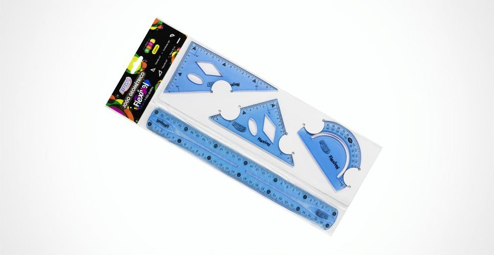 Kit Geométrico Flexível Linha Neon Azul - BRW