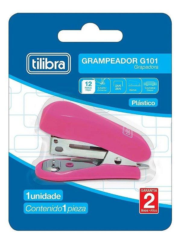 Mini Grampeador 12fls Rosa TILIBRA