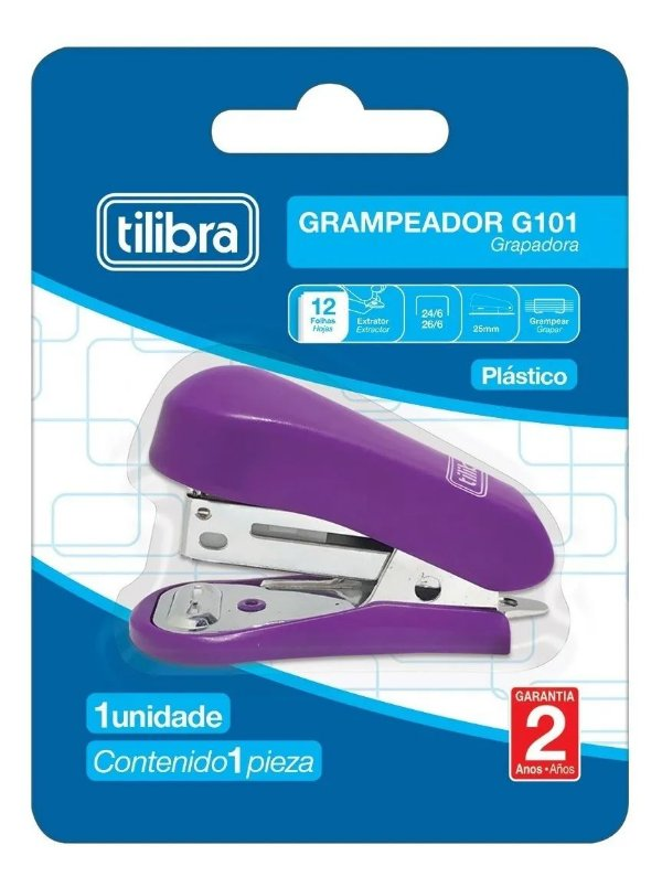 Mini Grampeador 12fls Roxo TILIBRA