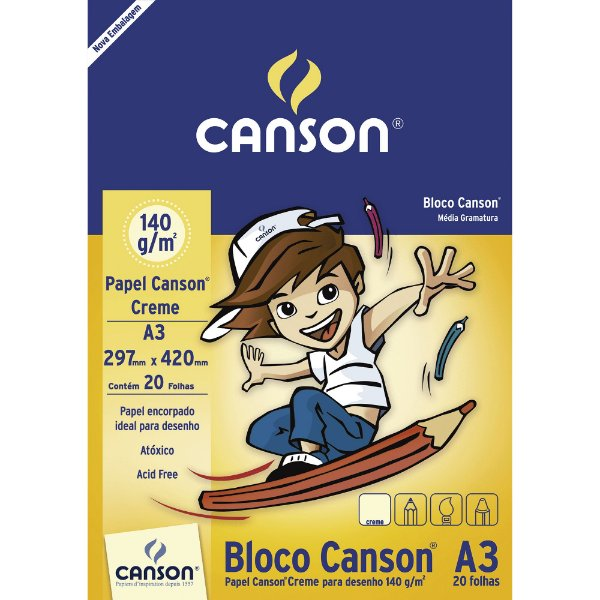 Bloco de Papel CANSON para Desenho A3 140g Creme