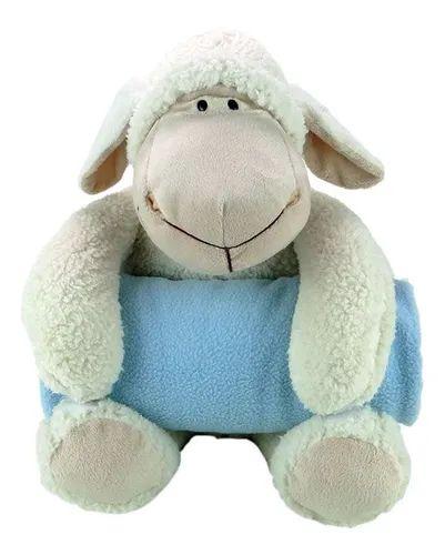 Ovelha de Pelúcia com Cobertor Azul - MONE