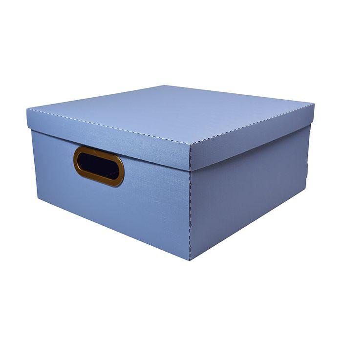 Caixa Organizadora Linho Grande Azul Claro DELLO