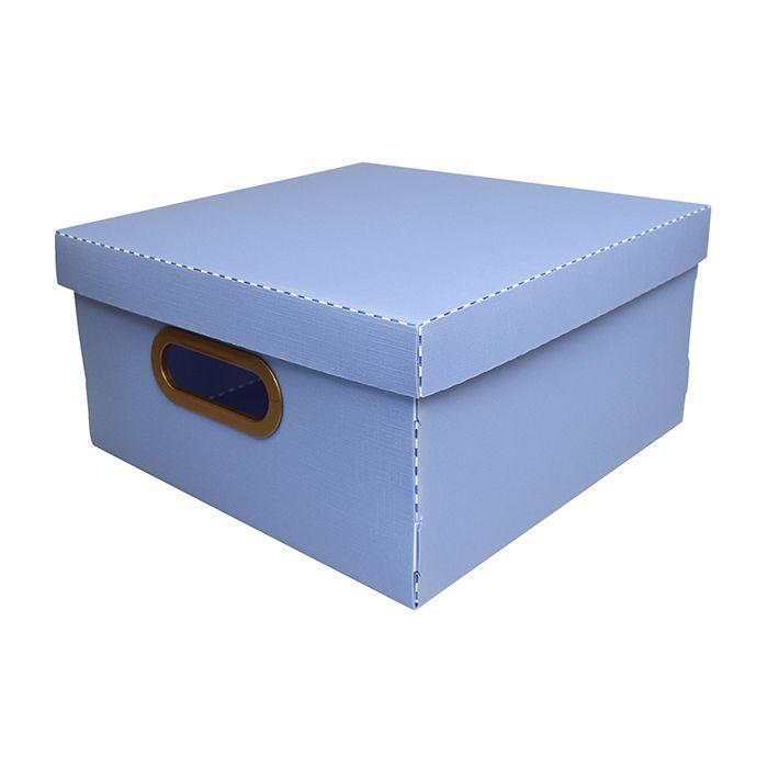 Caixa Organizadora Linho Pequena Azul Claro DELLO