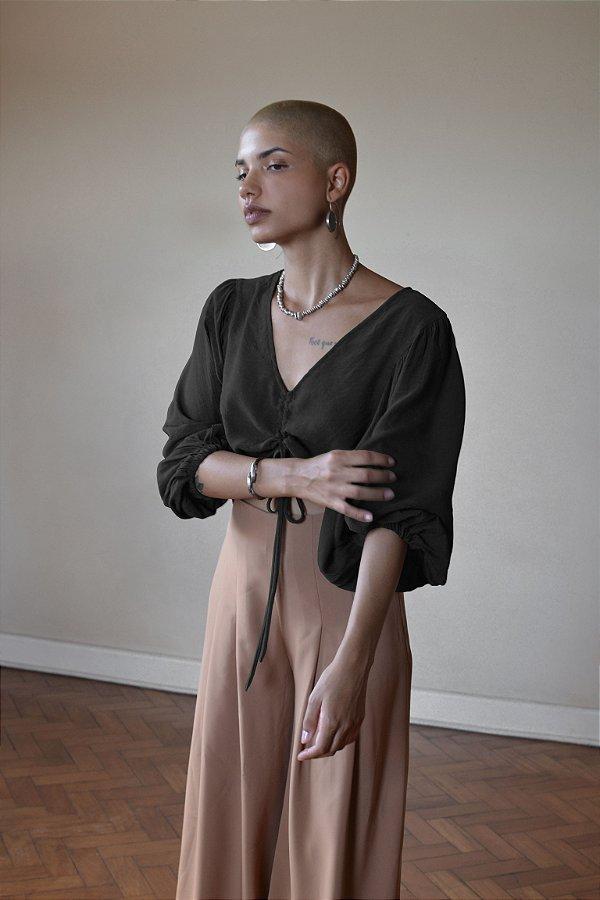 Blusa amarração manga bufante