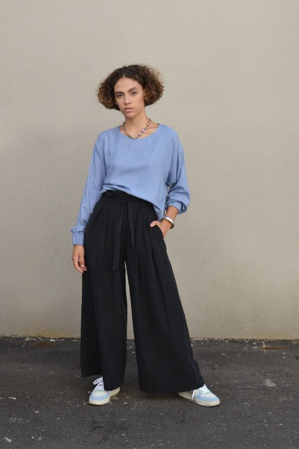 Blusa manga longa com elástico