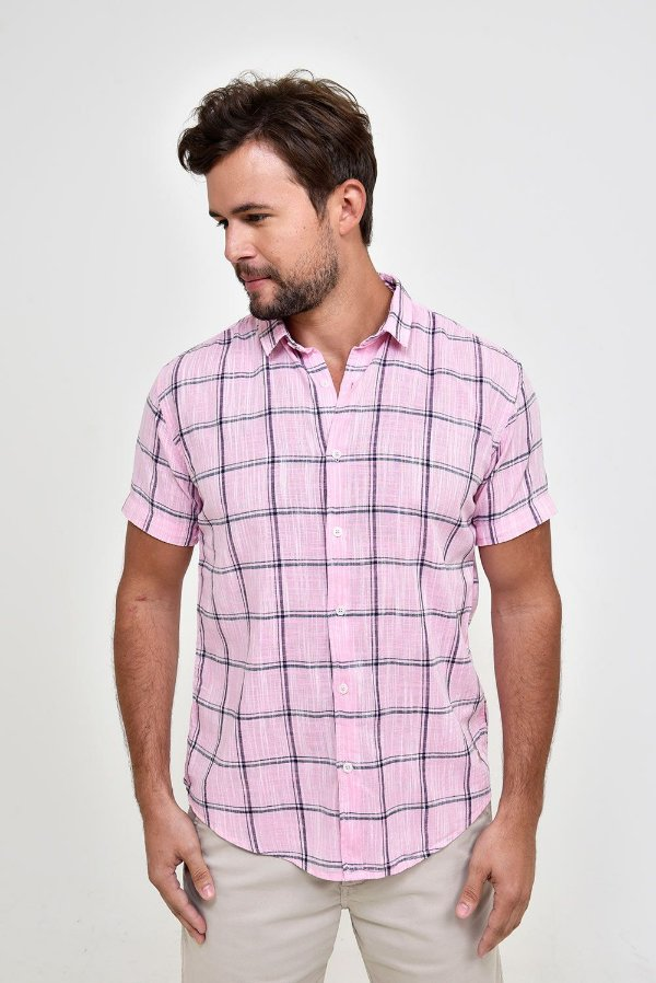 Camisa Xadrez Manga Curta Verão
