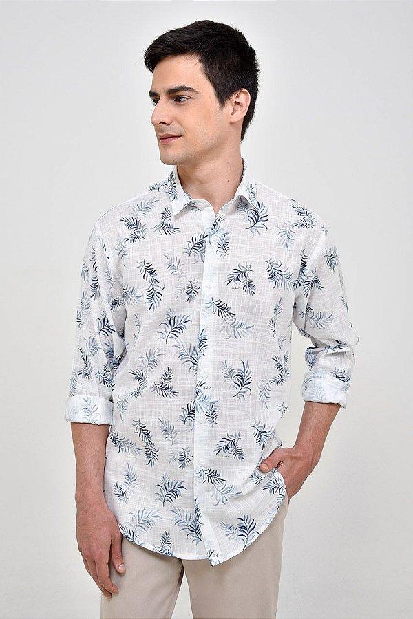 Camisa Manga Longa Folhagem Azul