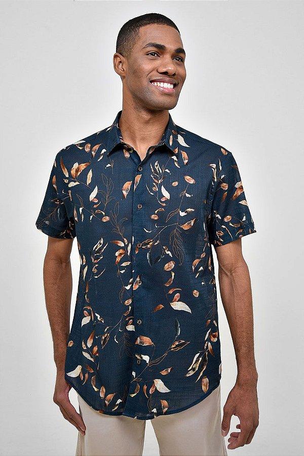 Camisa Manga Curta Folhas Secas