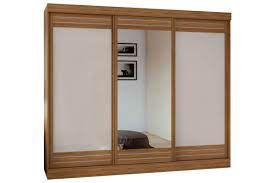 Guarda Roupa Casal com Espelho 3 Portas 4 Gavetas Speciale Móveis Lopas Rovere Naturale/Off White