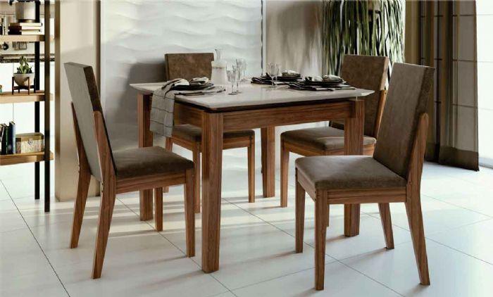 Conjunto Sala de Jantar Mesa Aries com 4 Cadeiras Lira Lopas Imbuia Naturale/Rosê