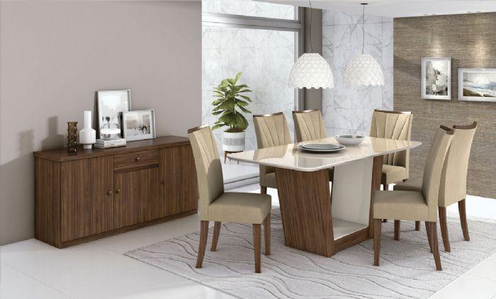 Conjunto Mesa de Jantar 6 Cadeiras Apogeu Móveis Lopas Imbuia Naturale/Suede Animale Bege