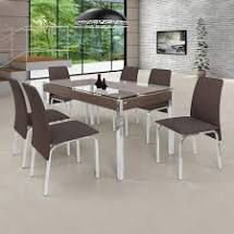 Conjunto de Mesa 6 Cadeiras Barcelona Ciplafe Cromado/Marrom