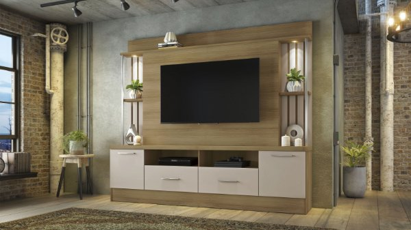 Estante Home para TV até 65 Polegadas Afeto JCM Móveis Cacau Off White