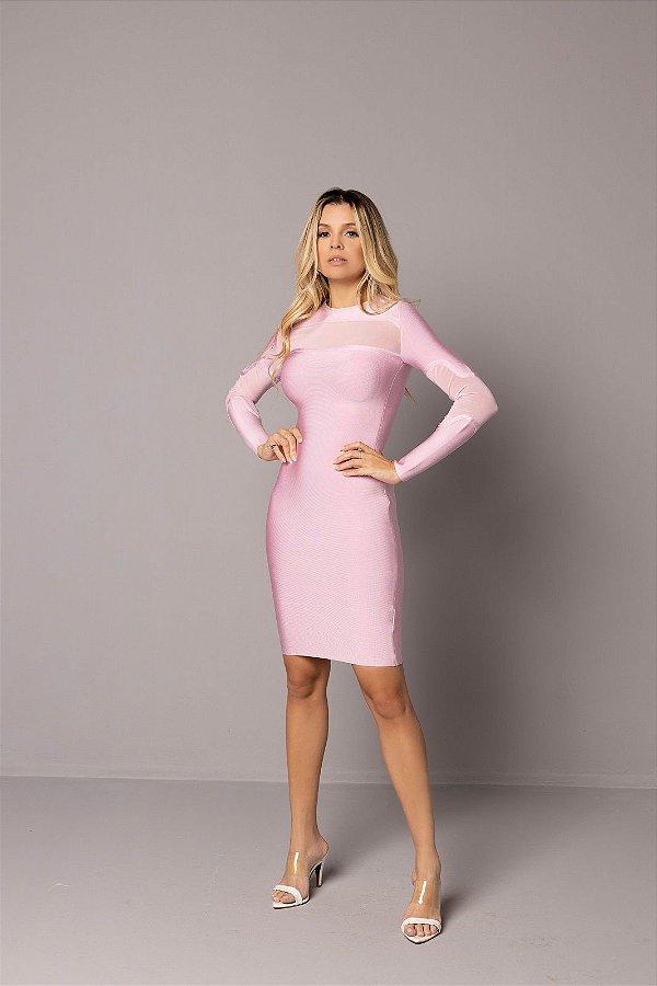 Vestido de Bandage Estrela Midi Rosa