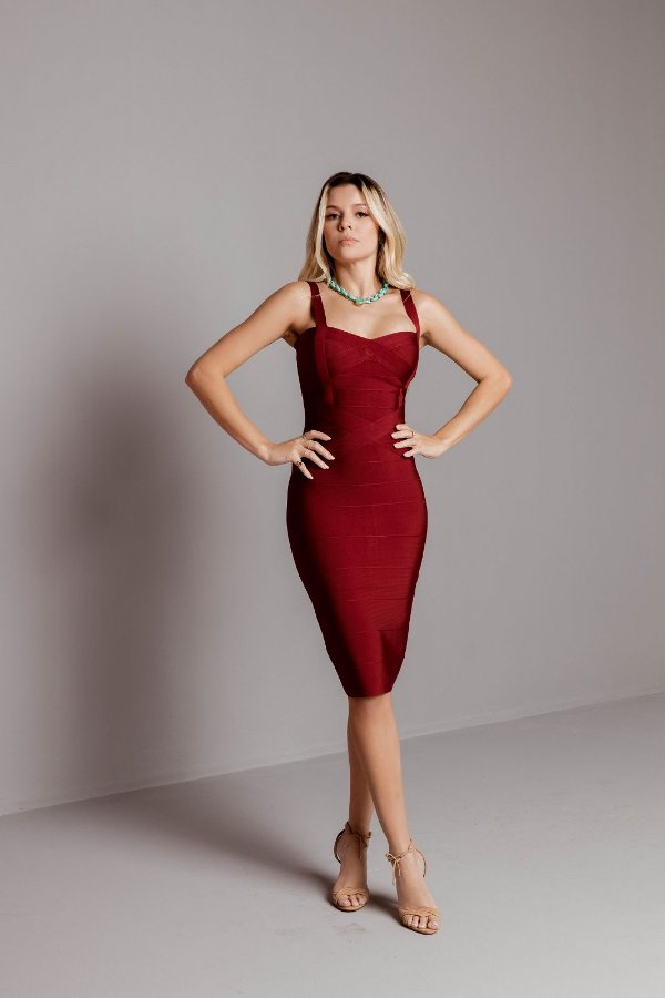 Vestido de Bandagem Helena Midi Marsala