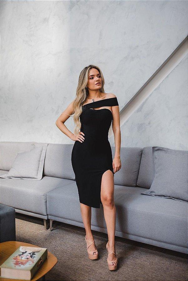 Vestido de Bandagem Viviane Fenda Lateral Preto